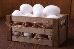 White eggs in a crate Royalty Free Stock Photography