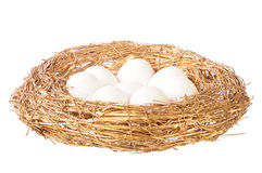 White eggs in golden nest Stock Image