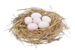 White eggs in hay nest isolated on white background Stock Photos