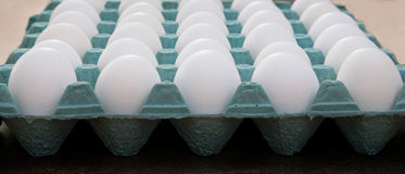 White Eggs In A Green Carton Royalty Free Stock Images