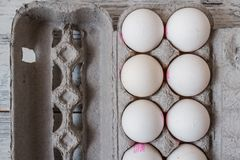 White Eggs in Modern Cardboard Packing royalty free stock photography