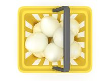 White eggs in shopping basket. 3D. Stock Photos