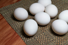 White Eggs On A Table royalty free stock image