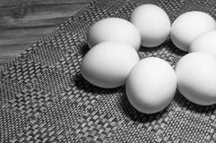 White Eggs On A Table Royalty Free Stock Photos