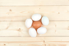 White eggs on a wooden background. White eggs with brown egg in center a wooden background Royalty Free Stock Photos
