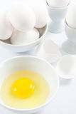 White Eggs and Yellow Egg Yolk Stock Images