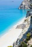 White Egremni beach (Lefkada, Greece). Beautiful summer white Egremni beach on Ionian Sea (Lefkada, Greece)  summer view from nearest rock Stock Photo