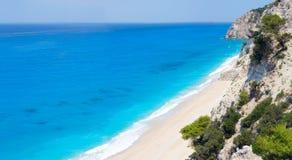 White Egremni beach (Lefkada, Greece). Beautiful summer white Egremni beach on Ionian Sea (Lefkada, Greece)  summer view from nearest rock Royalty Free Stock Photos