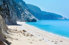 White Egremni beach (Lefkada, Greece). Beautiful summer white Egremni beach on Ionian Sea (Lefkada, Greece Stock Photography