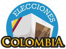 White Electoral Box Promoting Electoral Rally in Colombia, Vector Illustration. Full voting box for Colombian electoral event -written in Spanish- with ribbon Royalty Free Stock Photo