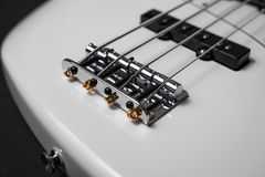 White Electric Bass Guitar Royalty Free Stock Photography