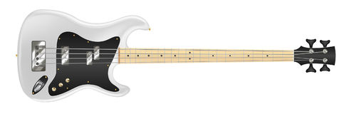 White electric bass guitar on white background. A white electric bass guitar on white background Stock Illustration