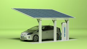 Electric car with electric plug. White electric car charging with solar panels stock illustration