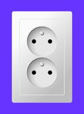 White electric double socket. White realistic electric double socket on color background Stock Image