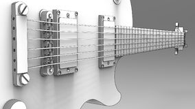 White electric guitar with black lines on gray background. 3d rendering. White electric guitar with black lines on gray background. 3d rendering Stock Images