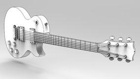 White electric guitar with black lines on gray background. 3d rendering. White electric guitar with black lines on gray background. 3d rendering Stock Photo