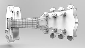 White electric guitar with black lines on gray background. 3d rendering. White electric guitar with black lines on gray background. 3d rendering Stock Image