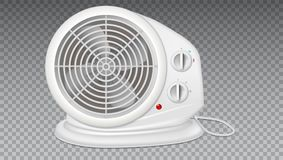 White electric heater with fan, radiator appliance. White electric heater with fan, radiator appliance for space heating. Icon of domestic heater with electric Royalty Free Stock Photo