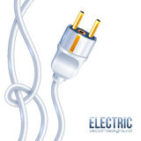 White electric plug and cables Royalty Free Stock Photo