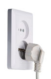 White electric plug and socket Royalty Free Stock Images
