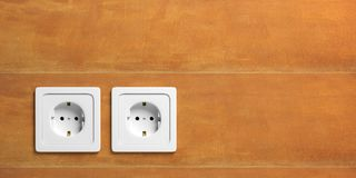 White electric power sockets isolated on stucco wall background. 3d illustration royalty free illustration