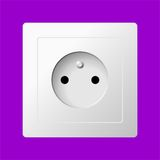 White electric socket. White realistic electric socket on color background Stock Photos