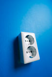 White electric socket on the wall. Royalty Free Stock Photos
