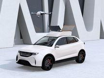 White electric SUV released drone for leisure entertainment. 3D rendering image royalty free illustration