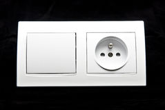 White electric switch and socket kit Royalty Free Stock Photography