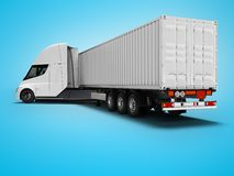 White electric tractor with trailer for traveling long distances rear view 3d render on blue background with shadow. White electric tractor with trailer for royalty free illustration