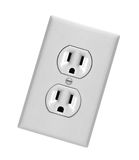White electric wall outlet receptacle Royalty Free Stock Photos