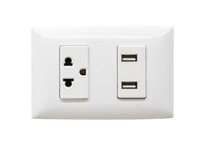 Free White Electrical Plug And USB Wall Outlet Royalty Free Stock Photography - 95600947