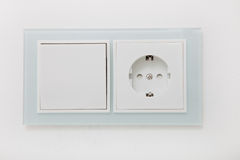 White electrical socket and switch Royalty Free Stock Image