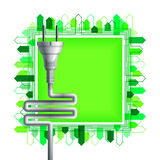 White electricity plug over the square with buildings Stock Photo
