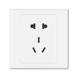 White Electricn Wall Outlet Receptacle Stock Photo