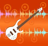 White electro guitar on abstract background. White electro guitar on abstract colorful equalizer bar background stock illustration