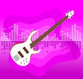White electro guitar on colorful background. White electro guitar on colorful equalizer bar background vector illustration