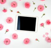 White electronic tablet with a blank black screen and blooming buds of a pink rose on a white background. Top view, flat lay stock image
