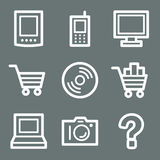 White electronics web icons Royalty Free Stock Images