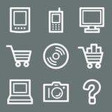 White electronics web icons Royalty Free Stock Images