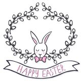 White elegant bunny in willow wreath spring holiday Easter card with wishes Royalty Free Stock Photo