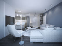 White elegant studio apartment Stock Image