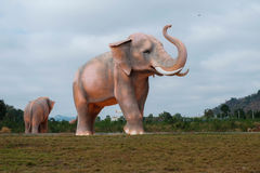 White elephant statue. Man made of huge white statue in Thailand which is an animal symbol of Thailand Royalty Free Stock Images