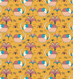 White elephant yellow background. Vector elephants with nature seamless pattern background, Yellow background Vector Illustration