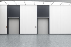 White elevator hall. Interior of an elevator hall with white walls, concrete floor and two elevators with gray doors. 3d rendering, mock up Stock Image