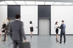 White elevator hall, people Stock Photo