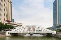 White Elgin Bridge and the Singapore River Royalty Free Stock Photo