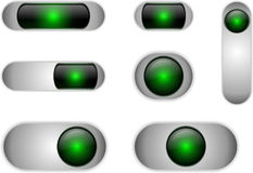 White elliptical button. Set of white buttons with glass inserts Royalty Free Stock Photography