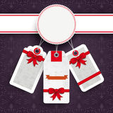 White Emblem Christmas Price Stickers Purple Ornaments Royalty Free Stock Photo