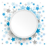 White Emblem Christmas Stars Snowflakes Stock Images
